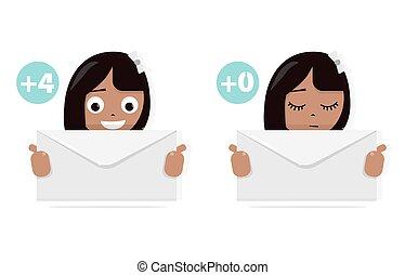 ella, móvil, mano., moderno, sitios web, sitio., app., carta, diversión, niña, animado, style., icono