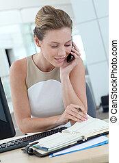 ella, mujer de negocios, horas, agenda, escritorio, reunión,...