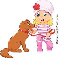 ella, niña, aislado, caricatura, perro