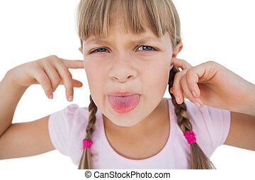 ella, niña, clogging, el hacer una mueca de dolor, orejas