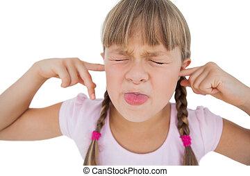 ella, niña, clogging, orejas