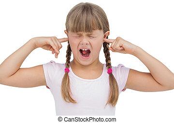 ella, niña, divertido, clogging, orejas