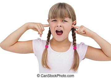 ella, niña, orejas, clogging, dedos