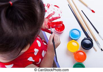 ella, palmas, instrumentos, creativ, asiático, utilizar, ...