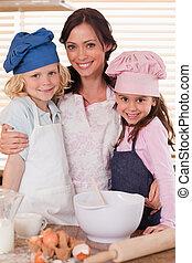 ella, retrato, niños, madre, hornada