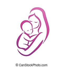 ella, símbolo, aislado, silueta, vector, madre, bebé