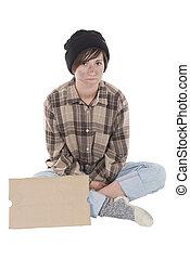 ella, sentado, joven, señal, homelessness, frente