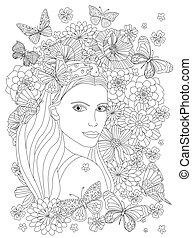 ella, sobre hombro, niña, mirar, rodeado, flores, hermoso