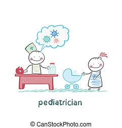 ella, trabajo, pediatra, escuchar, madre, cochecito del bebé