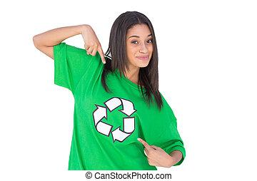 ella, tshirt, símbolo, ambiental, activista, s, señalar