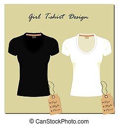 ella/los/las de niña, diseño, camisetas, negro, vector.,...