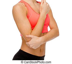 ellbogen, frau, schmerz, sportliche
