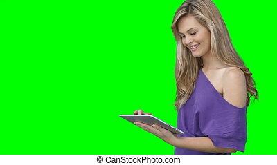 elle, écran, quoique, regarder, utilisation, pc tablette, femme