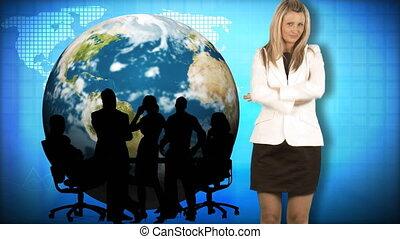 elle, équipe, fond, mondiale, femme affaires
