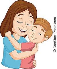 elle, étreindre, fils, mère, dessin animé, heureux