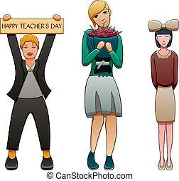 elle, étudiants, deux, jeune, enseignante