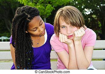 elle, adolescent, ami, consoler
