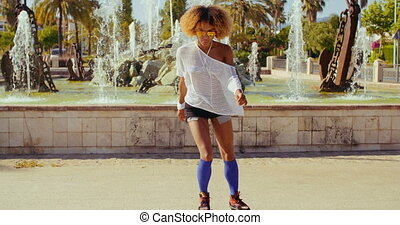 elle, américain, patins, sexy, girl, afro, rouleau