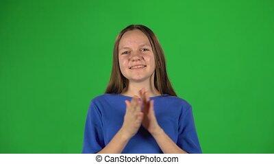 elle, applaudir, greenscreen, hands., femme, peu