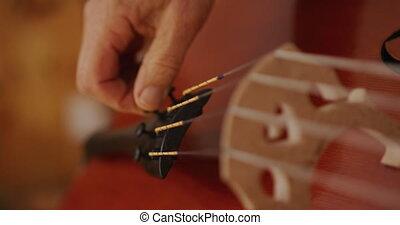 elle, atelier, femme, travail, luthier