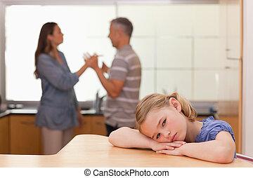 elle, audition, triste, girl, parents, discuter