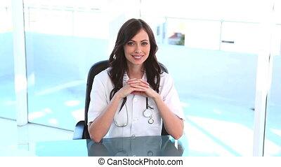 elle, bureau, docteur féminin, séance