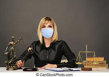 elle, bureau., protecteur, juge, foire, travaux, femme, masque, jeune