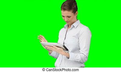 elle, business, utilisation, tablette, femme