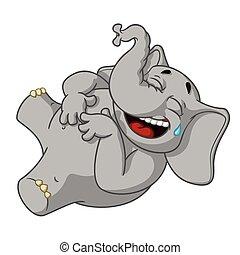 elle, cartoon., grand, character., rire, isolé, collection, stomach., vecteur, elephants., tenue, elephant.