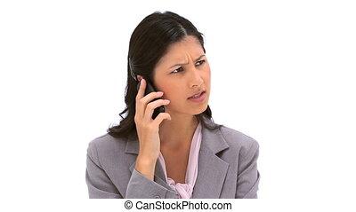 elle, cellphone, utilisation, femme, sérieux