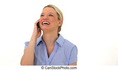 elle, cellphone, utilisation, femme souriante