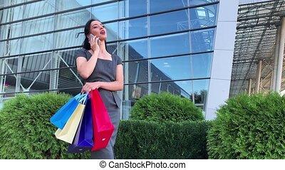 elle, centre commercial, noir, shooping, coloré, femme, sacs, vendredi, vacances, tenue