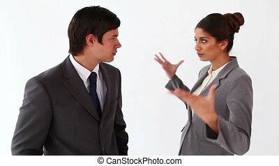 elle, collègue, parler, femme affaires