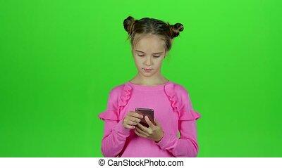 elle, conversation, écran, téléphone, vert, mom., bébé