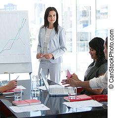 elle, conversation, présentation, collègue, femme affaires