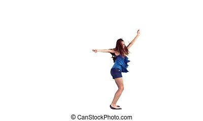 elle, danse, dehors, ralenti, bras, femme