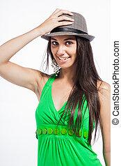 elle, dos, regarder, quoique, tenue, hat.