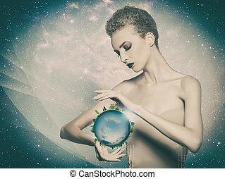 elle, eco, résumé, arrière-plans, planète, mains