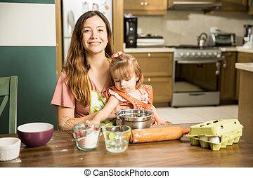 elle, enfant, quoique, porter, mère, cuisinier, essayer