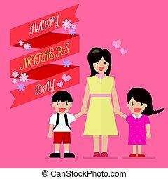elle, enfante jour, mère, bannière, enfants, heureux
