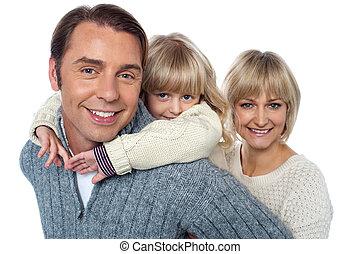 elle, famille, trois, ferrouter, father., amusement, girl, aimer