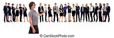 elle, femme, présentation, equipe affaires