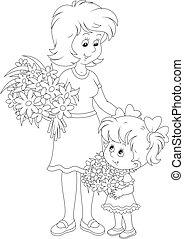 elle, fille, fleurs, maman