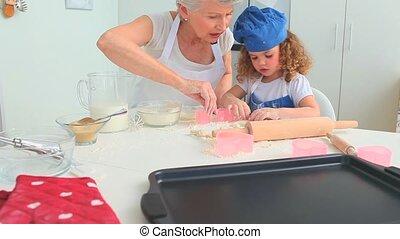elle, fille, grand-mère, biscuits, grandiose, cuisson