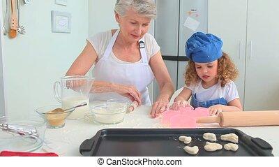 elle, fille, grand-mère, enseignement, grandiose