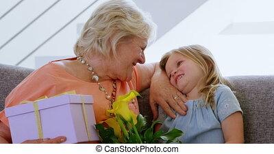 elle, fille, grand-mère, grandiose, jouer, 4k