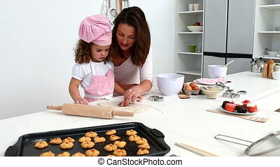elle, fille, mère, cuisson, wonderfull