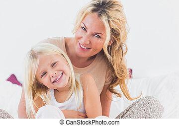 elle, fille, mère, lit, séance
