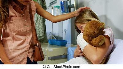 elle, fille, teddy, mère, 4k, ours, donner