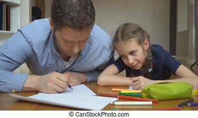 elle, floor., fille, père, dessin